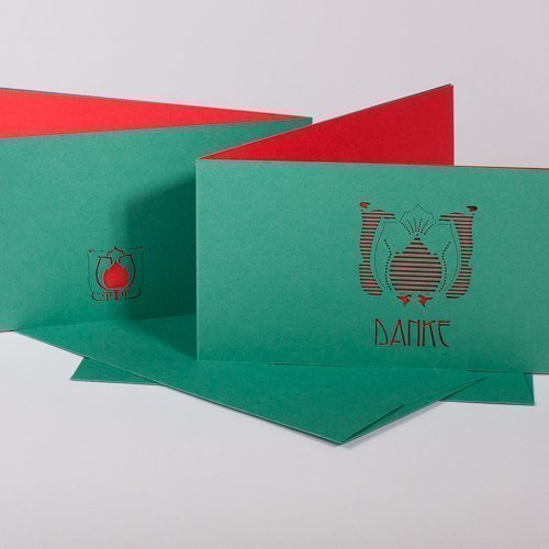 Dankeskarte Artdeco emerald / bright red