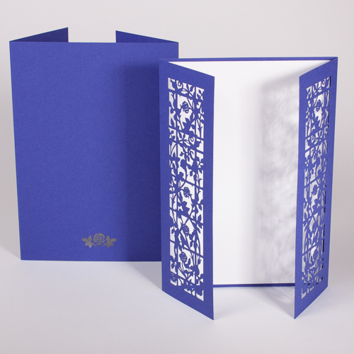 Gatefold Rosengarten royal blue / pristine white